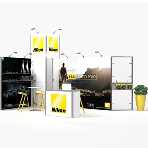 Fotograficzne stoisko targowe Nikon na targi foto