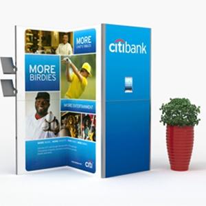 Stoisko konferencyjne dla banku (Citibank) z ulotkownikiem