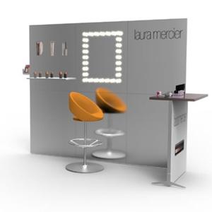 Kosmetyczna ścianka konferencyjna ze stolikiem i hokerem
